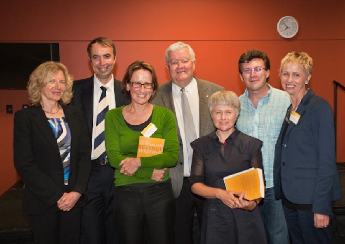 L-R: Elizabeth Finkel, Professor Merlin Crossley, Jane McCredie, Professor Ian Chubb AC, Ashley Hay, Peter McAllister and Kathy Bail.