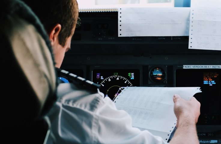 Two aviation pilots in the cockpit flying a plane