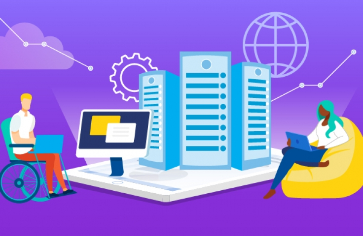 Purple graphic of information technology with blue buildings and growth charts