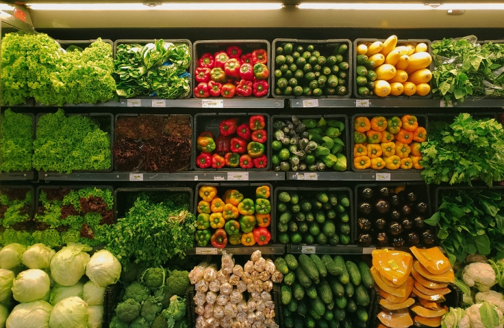 Fruit and vegetables at a grocery