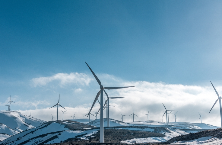 Wind Turbines in a snowy environment