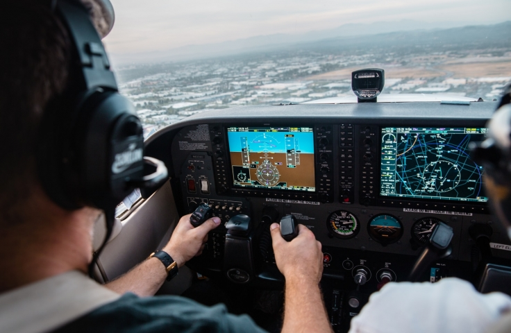 A student pilot flying a plane